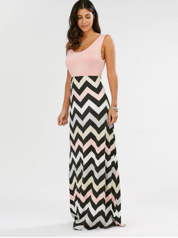 Outfits Sleeveless Maxi Chevron Tank A Line Dress - XL PINK Mobile