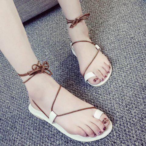 Fancy Tie Up Toe Ring Sandals - 38 WHITE Mobile