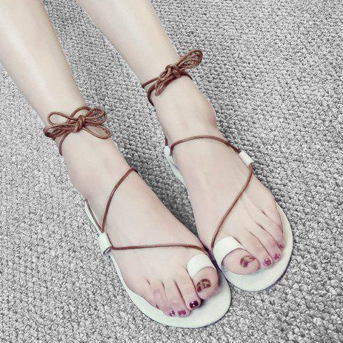 Discount Tie Up Toe Ring Sandals - 38 WHITE Mobile