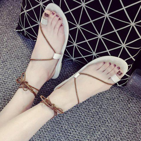 Trendy Tie Up Toe Ring Sandals - 38 WHITE Mobile