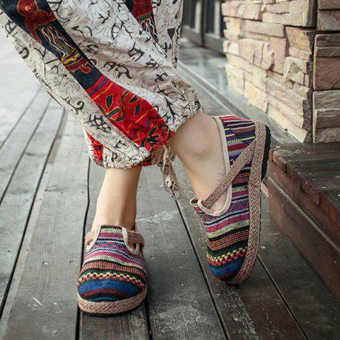 Online Linen Striped Flat Shoes - 37 COLORFUL Mobile