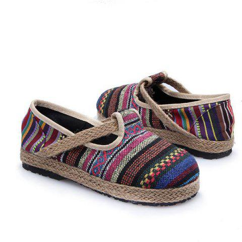 Affordable Linen Striped Flat Shoes - 37 COLORFUL Mobile