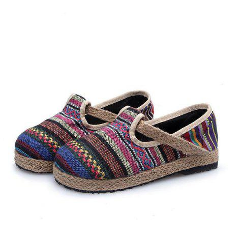 Fancy Linen Striped Flat Shoes - 37 COLORFUL Mobile