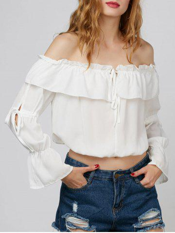 Off The Shoulder Chiffon Top - White - M