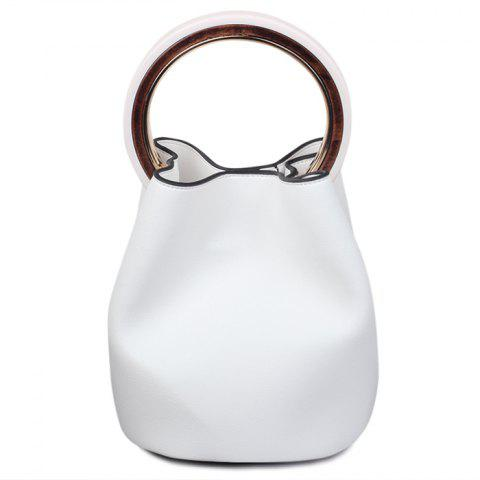 Fancy Top Handle Bucket Bag with Pouch Bag WHITE