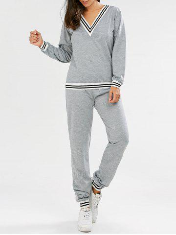 Hot Fashionable V-Neck Long Sleeve Striped Sweatshirt + Fitted Pants Twinset For Women GRAY S