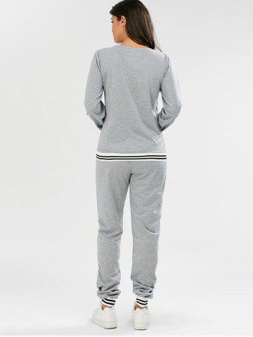 Fancy Fashionable V-Neck Long Sleeve Striped Sweatshirt + Fitted Pants Twinset For Women - S GRAY Mobile