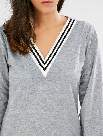 Trendy Fashionable V-Neck Long Sleeve Striped Sweatshirt + Fitted Pants Twinset For Women - S GRAY Mobile