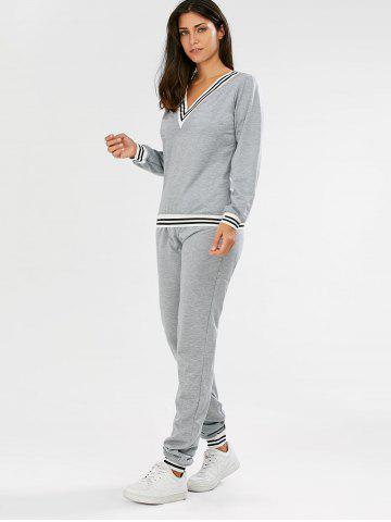 Trendy Fashionable V-Neck Long Sleeve Striped Sweatshirt + Fitted Pants Twinset For Women - L GRAY Mobile
