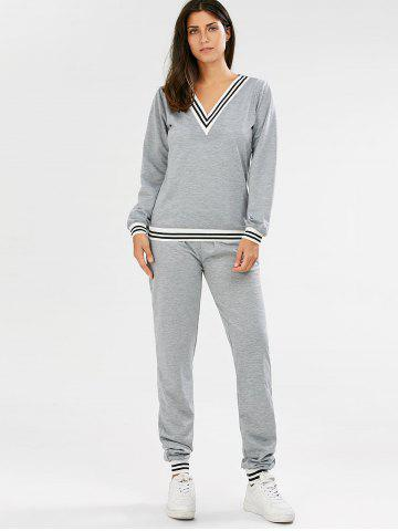 Affordable Fashionable V-Neck Long Sleeve Striped Sweatshirt + Fitted Pants Twinset For Women - L GRAY Mobile