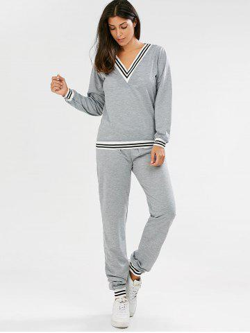 Fancy Fashionable V-Neck Long Sleeve Striped Sweatshirt + Fitted Pants Twinset For Women - L GRAY Mobile
