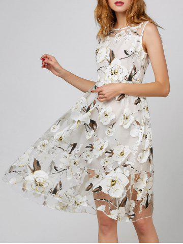 Sale Belted Floral Print Organza Dress WHITE M