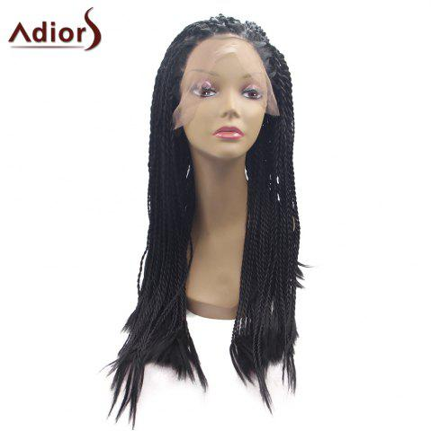Outfit Adiors Long Afro Twist Braid Lace Front Synthetic Wig - JET BLACK 01#  Mobile
