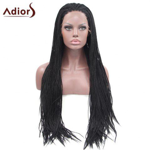 Trendy Adiors Long Silky Micro Afro Braid Lace Front Synthetic Wig - NATURAL BLACK  Mobile