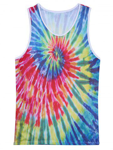Hot Openwork 3D Colorful Tie Dye Print Tank Top - 2XL COLORMIX Mobile