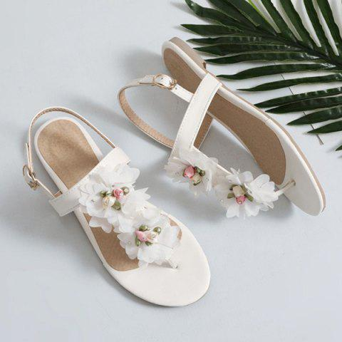 Shops PU Leather Flowers Sandals - 37 WHITE Mobile