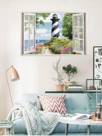 Sale Flower Tower Fake 3D Window Wall Sticker - COLORFUL  Mobile