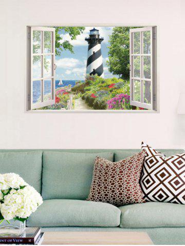 New Flower Tower Fake 3D Window Wall Sticker - COLORFUL  Mobile