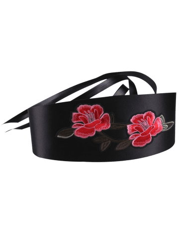 Affordable Banded Retro Flowers Embroidery Wide Corset Belt - BLACK  Mobile