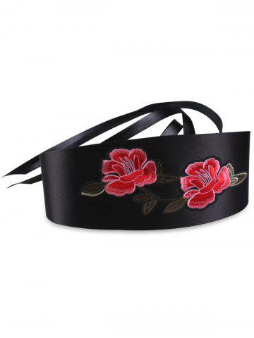 Chic Banded Retro Flowers Embroidery Wide Corset Belt - BLACK  Mobile