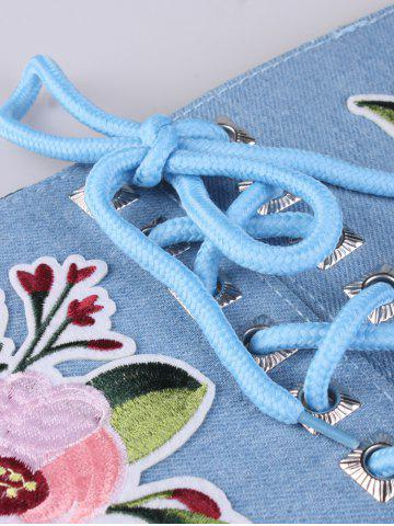 Shop Lace Up lowers Embroidered Corset Waist Belt - LIGHT BLUE  Mobile
