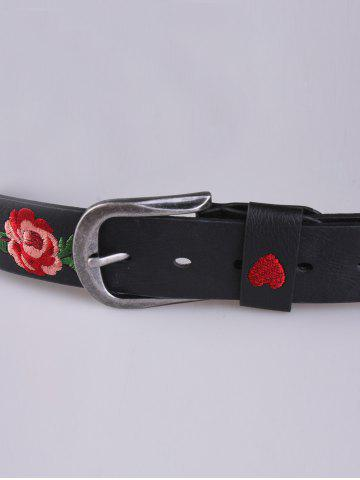 Latest Rose Heart Embroidery Faux Leather Casual Belt - BLACK  Mobile