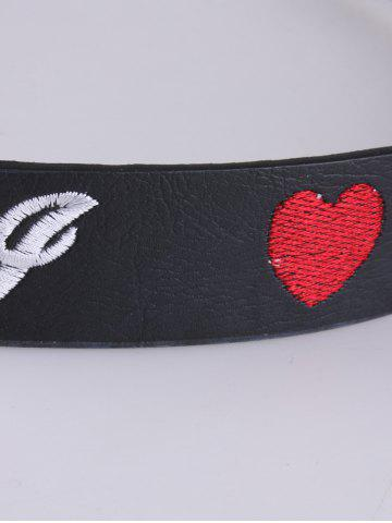 Affordable Rose Heart Embroidery Faux Leather Casual Belt - BLACK  Mobile