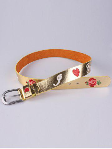 Outfit Rose Heart Embroidery Faux Leather Casual Belt - GOLDEN  Mobile