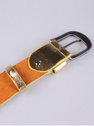 Affordable Rose Heart Embroidery Faux Leather Casual Belt - GOLDEN  Mobile
