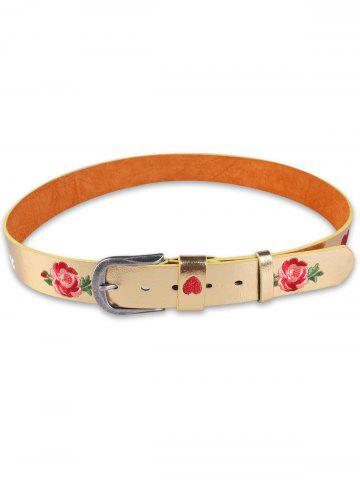 Shop Rose Heart Embroidery Faux Leather Casual Belt - GOLDEN  Mobile