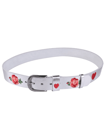 Latest Rose Heart Embroidery Faux Leather Casual Belt - SILVER  Mobile
