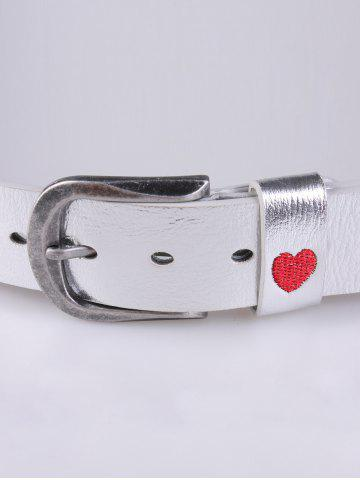 Fancy Rose Heart Embroidery Faux Leather Casual Belt - SILVER  Mobile