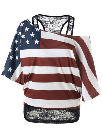 Online Lace Trim Skew Collar American Flag T-Shirt COLORMIX M