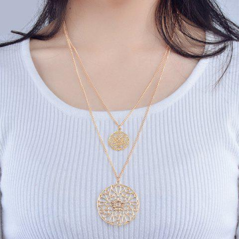 Alloy Engraved Hollow Out Retro Ethnic Necklace - Golden - 130cm