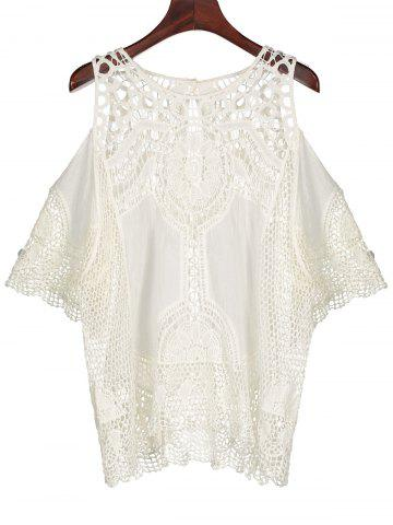 Affordable Cold Shoulder See Through Crochet Lace Blouse