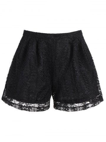 Unique High Waisted Lace Double Layer Shorts
