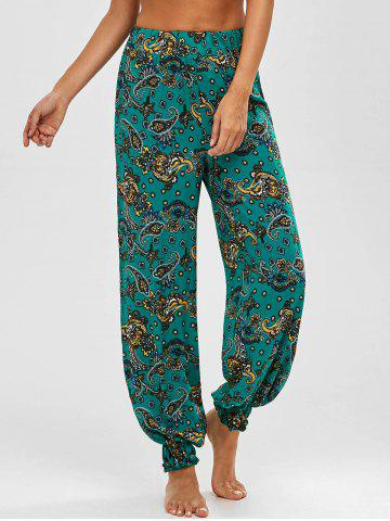 Fancy Paisley Print High Waist Harem Pants
