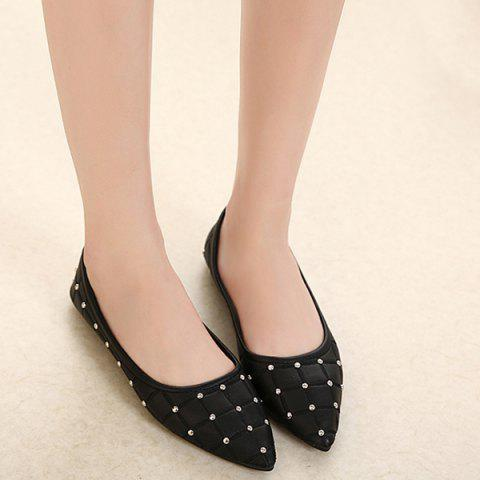 Outfits Pointed Toe Rivets Flat Shoes - 38 BLACK Mobile