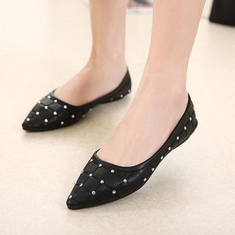 New Pointed Toe Rivets Flat Shoes - 38 BLACK Mobile