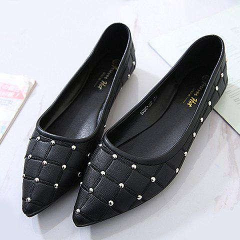 Trendy Pointed Toe Rivets Flat Shoes - 38 BLACK Mobile