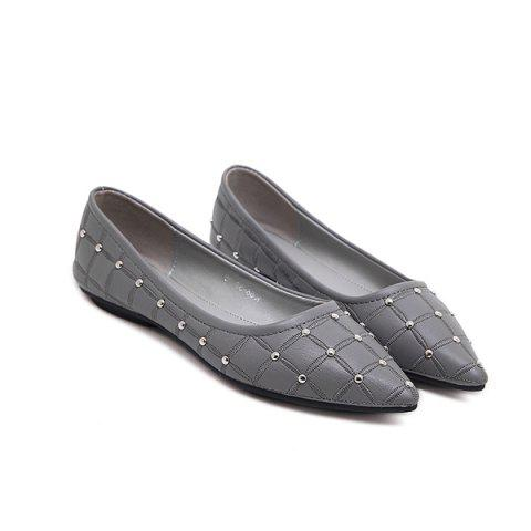 Pointed Toe Rivets Flat Shoes - Gray - 40