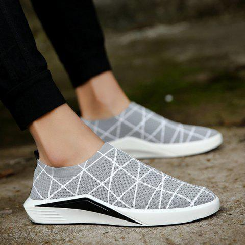 Outfit Geometric Pattern Breathable Mesh Trainers - 41 LIGHT GREY Mobile