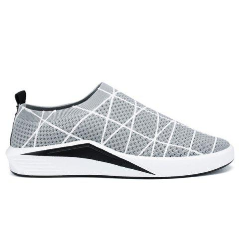 Cheap Geometric Pattern Breathable Mesh Trainers - 41 LIGHT GREY Mobile