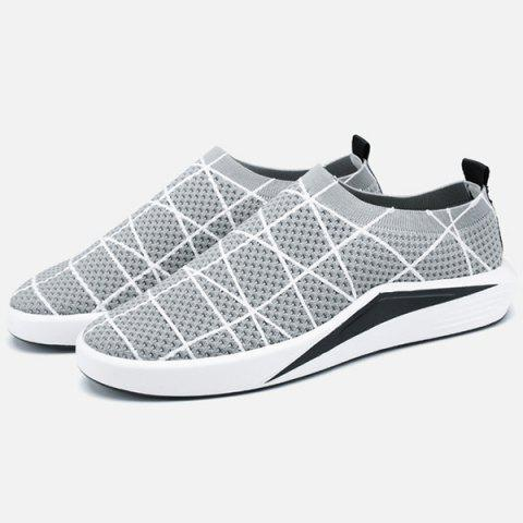 Trendy Geometric Pattern Breathable Mesh Trainers - 41 LIGHT GREY Mobile