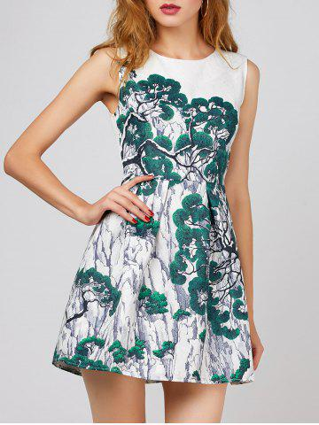 Online Trees Print A Line Dress