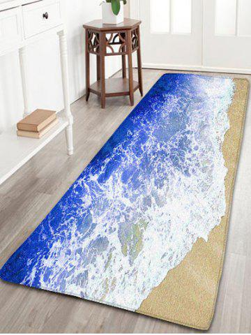 Sea Beach Skidproof Flannel Water Absorption Bathroom Rug - Blue - W16 Inch * L24 Inch