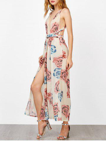 Discount Criss Cross Backless Maxi Floral Dress with Slit FLORAL S