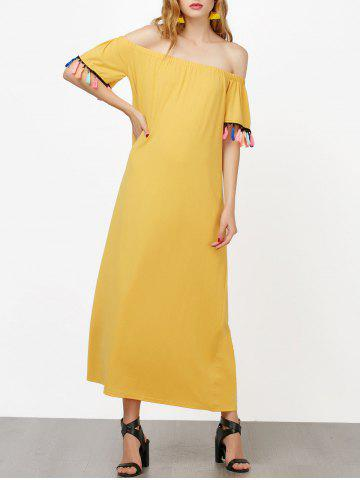 Cheap Off The Shoulder Maxi Dress with Tassel