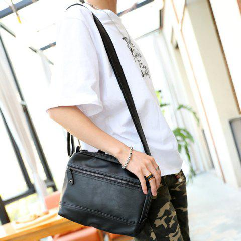 New Faux Leather Top Handle Crossbody Bag - BLACK  Mobile