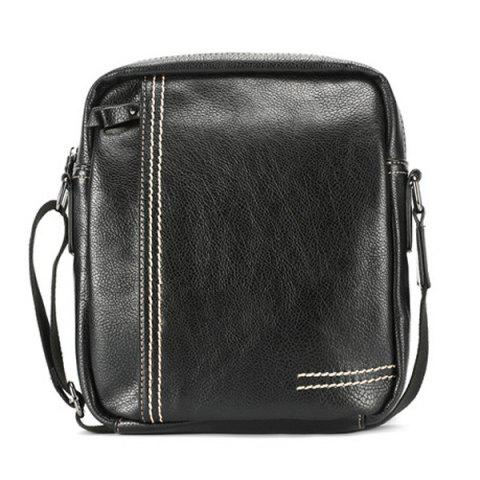 Store Stitching Pebble PU Leather Crossbody Bag - BLACK  Mobile